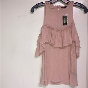 NWT Express Cold Shoulder Scoop Neck Shirt-Pink-S